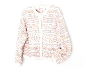 Vintage Cardigan Sweater * Cropped Cotton Sweater * Boxy 90s Cardigan * M / L