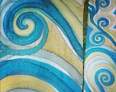 Mustard yellow, petrol blue, slate grey custom made spirals silk scarf for Isabelle