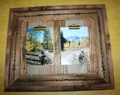 Rustic Picture Frame-Clip Board Photo Display-Collage-Barnwood Note Board-Wood Frame-Barbed Wire-Rope-Holds 2 - 5x7 Pictures