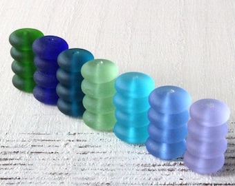 15% OFF Sea Glass Rondelle - Cultured Seaglass Beads - Jewelry Making Supply - Frosted Glass Bead - Assortment - 28pc - 12x5mm
