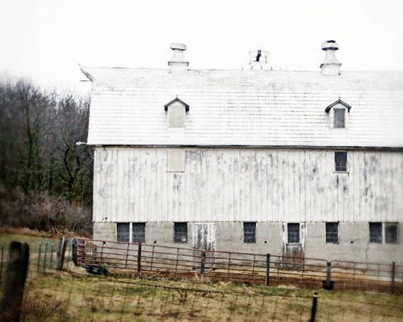 Barn Print Farmhouse Decor White Photo Art