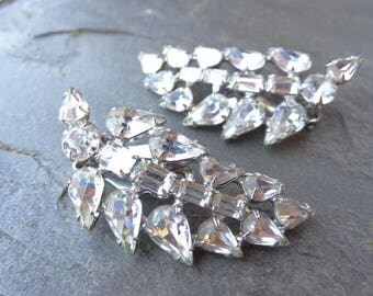 Vintage Crystal Clear Rhinestone Climber Earrings. Clip On Leaf Earrings. Bridal Jewelry.