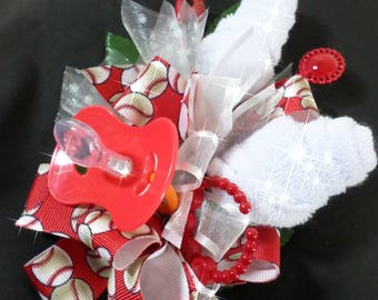 Baseball Themed Baby Shower Washcloth Corsage - Pin On Floral Corsage - Red Pacifier and White Washcloths Corsage- Baby Shower Items