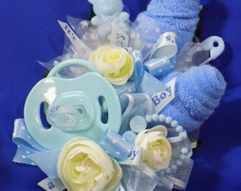 Pin On Baby Shower Corsage - Unique Baby Boy Corsage - Pacifier and Washcloths -  Blue Washcloth Flowers Corsage - Blue Corsage