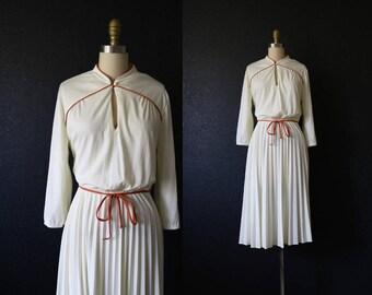 1970s ivory + copper dress