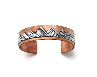 Mountain Bracelet, Copper and Silver Mountain Cuff Bracelet, Western Cuff Bracelet, Southwestern Cuff, Silver and Copper Cuff, One of a Kind