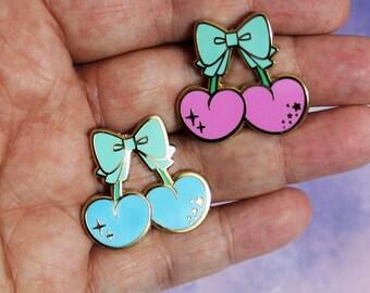 Kawaii Cherry Hard Enamel Pins - Pink or Blue