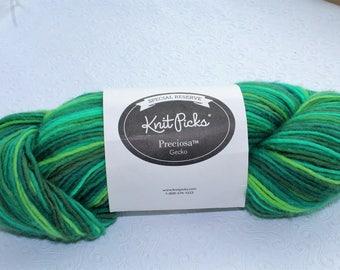 Knit Picks Preciosa Merino Yarn in Gecko Green, Special Reserve Preciosa Yarn, Green Merino Wool Yarn, Destash Merino Wool, Worsted Weight