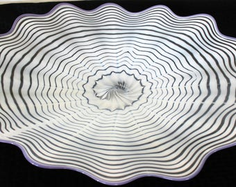 Beautiful Hand Blown Glass Art  Platter Bowl  7686 White ONEIL