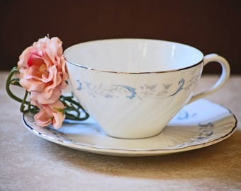 China Tea Cup and Saucer/Camelot China/Gracious/White Teacup/Blue Floral Teacup/Garden Tea Party/Made in Japan/1990
