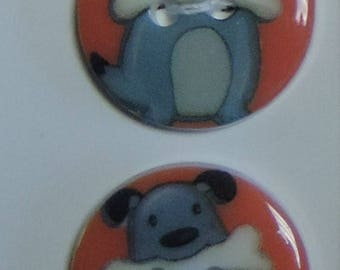 SALE Dog Sew Thru Buttons Wuttons Woof Print by Blumenthal Lansing Co Carded