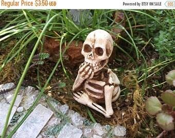 SALE Mini Skeleton Figurine, Half Skeleton, Fairy Garden Accessory, Miniature Garden Decor, Shelf Sitter, Topper, Crafts