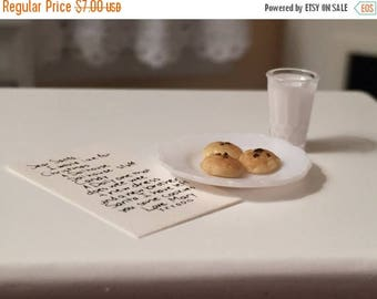 SALE Miniature Letter to Santa With Cookies and Glass of Milk, Dollhouse Miniatures, 1:12 Scale, Holiday Decoration, Christmas Accessories