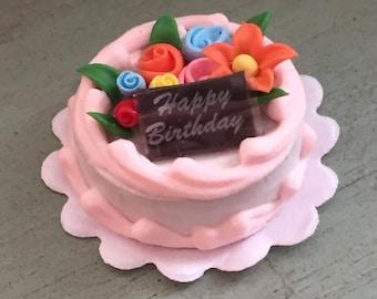 SALE Miniature Birthday Cake With Flowers, Mini Frosted Cake, Dollhouse Miniature, 1:12 Scale, Miniature Food, Dollhouse Decor, Accessory
