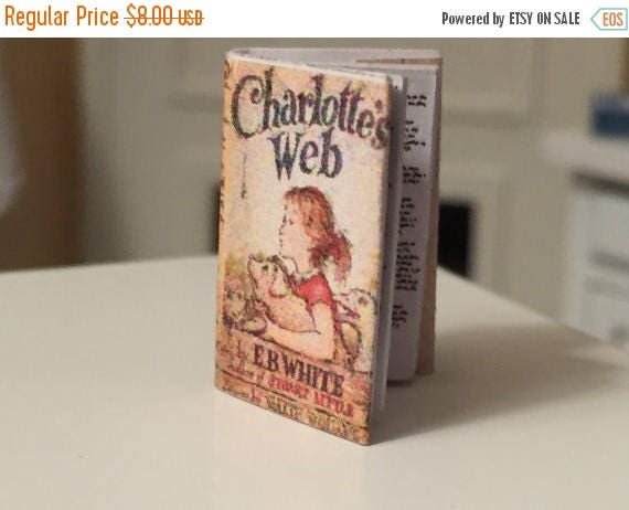 ON SALE Miniature Charlotte's Web Book, Dollhouse Miniature, 1:12 Scale, Mini Book, Color Book Cover, Printed Pages, Dollhouse Accessory