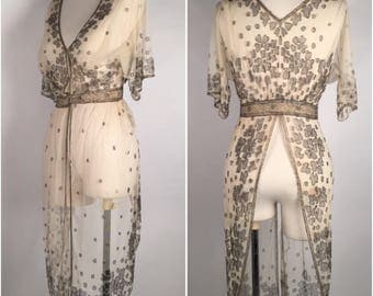Vintage 1900s Beaded Evening Wrap, Jacket, Cream, Gray, Silver, Floral, Mesh, Glass Beads, Tabard Dress, Coverup, Flapper, Evening Dress