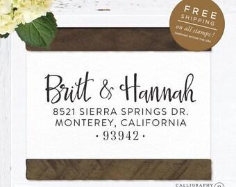 Self inking return address stamp, custom stamp, wedding calligraphy stamp, return address stamp, personalized stamp - Hannah
