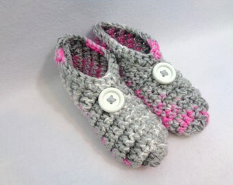Crochet Slippers in Grays and Pink with Buttons Size Medium, Womens Houseshoes ~Gift for Grandma ~Warm and Cozy Socks by Charlene