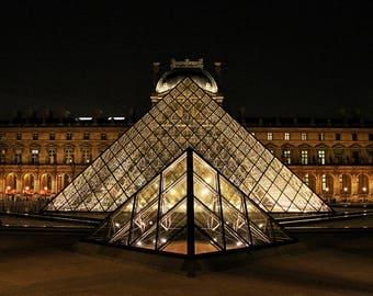 Fine Art Photography, Louvre pyramid, Paris at night  8x10, 8x12,