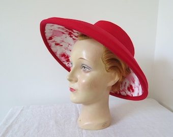 1950s Red Wide Brimmed Picture Hat - New Look