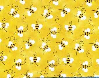 Bumble Bees on Yellow by Patty Reed Designs, 100% Cotton Fabric by the Yard, Quilt Fabric, Apparel Fabric, Home Decor Fabric, Craft Projects