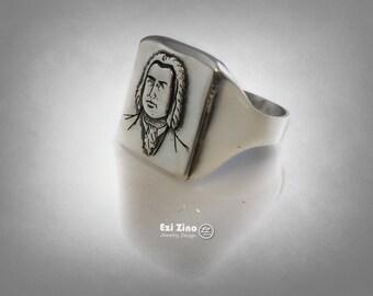 Johann Sebastian Bach German composer musician Ring Sterling Silver 925 Ezi Zino