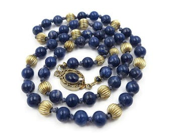 Vintage Gold Filled and Sodalite Stone Bead Necklace - Clasp Marked Silver, Blue Stones, Single Strand Necklace, Vintage Necklace