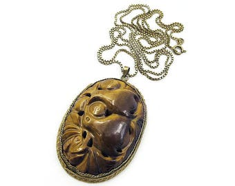Carved Tigers Eye Pendant Necklace, Chinese Export, Dove Bird, Gold Plated Metal, Sterling Chain, Longevity Symbol, Vintage Necklace