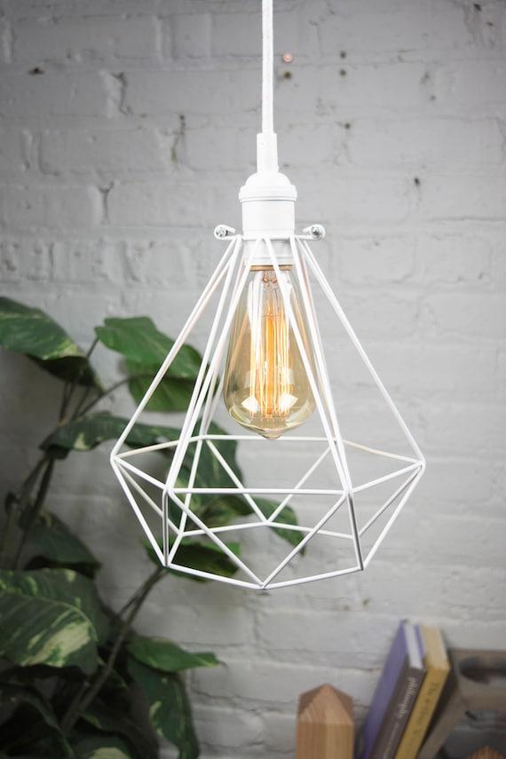 CAGE ONLY hemelli Diamond Lamp Shade Pendant Lamp Pendant Light Cage Bulb  Guard Lighting, Brass, Copper, Mint Turquoise, White or Black