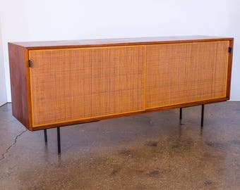 Early Florence Knoll Walnut and Woven Cane Credenza
