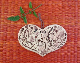 Small Ceramic Heart-Shaped Wall Plaque - Made Using Real Plants - Clay Wall Hanging - Wall Decoration - Garden decor - Plant Lover Gift