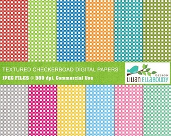 65%OFF SALE Country style textured checker digital papers in rainbow bright colors, commercial use, instant download