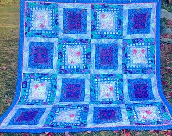 Rowan Ripples queen quilt using Kaffe Fasset fabrics