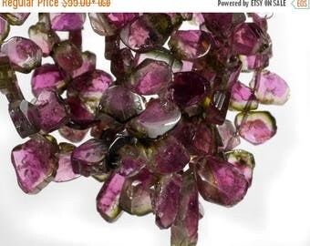 ON SALE Watermelon Tourmaline Beads Slices Nuggets Pink and Green Tourmaline Bicolor Earth Mined - 4 or 8-Inch Strand - 6x4 to 9x5mm