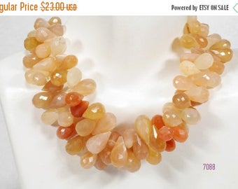 ON SALE Peach Moonstone Teardrops Shaded Faceted Luminous Genuine Earth Mined Gemstone - 9 x 6 to 13 x 7mm - 18 Teardrops