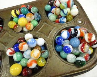 Vintage Estate Old Colorful Art Glass Toy Marbles Variety Assorted Estate Collection 48 EA  Lot Bowl Nest Jar Filler