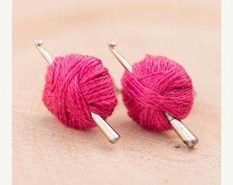 SALE Crochet Hook Earrings, Fuschia Dark Pink, Yarn Ball, Crochet Gift, Mini Hook, Crochet Jewelry, Silver Stud, Post, Blue, White, Custom C