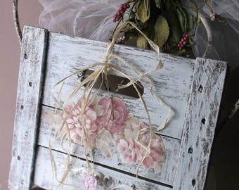 French Shabby Chic Wall Sign. Shabby Cottage Pink White. Antique Wine Crate Sign. Shabby Chippy Wood Wall Hook w French Provencial Hook