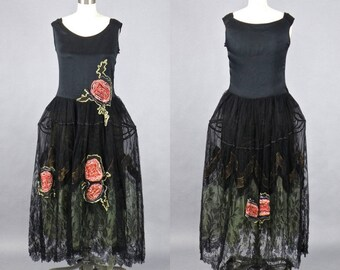 1920s Robe de Style Pannier Dress with Ribbon Roses & Chantilly Lace, Vintage 20s Flapper Dress, Great Gatsby Dress
