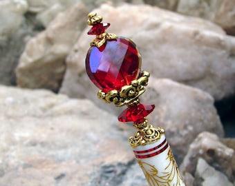Siam Red Crystal Hair Stick Swarovski Hair Sticks Deep Red Faceted Glass Hairstick Kanzashi Hair Pins Hair Chopsticks Haarstab - Maia 3291