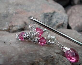 Pink Crystal Hair Stick Elegant Swarovski Crystal and Silver Dangle Geisha Style Rose Pink Hair Pin Soft Pink Hair Pic - Gloriana 2915