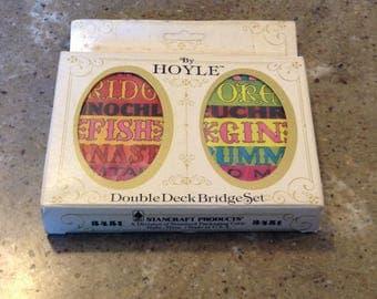 Retro Double Deck Bridge Playing Cards Paper Ephemera Tags Destash by Hoyle Sealed MIB Fish Poker Gin Rummy