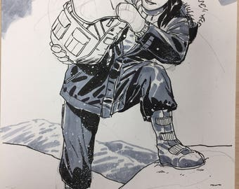 Sketch of Carrie Stetko from WHITEOUT, drawn by Steve Lieber.