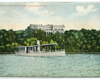 Otto Young Residence Lake Steamer Lake Geneva Wisconsin 1910c postcard