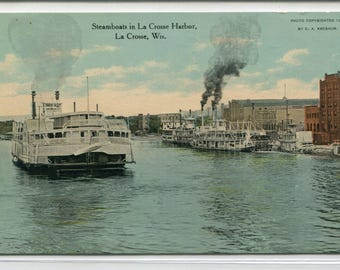 Paddle Steamers La Crosse Harbor Wisconsin 1911 postcard