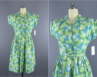 Vintage 1950s Dress / 50s Brentwood JC Penney Day Dress / Blue & Green Floral Checkered / Cotton Dress /
