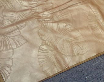 TL34.  Caramel Palm Leaf Embossed Leather Cowhide