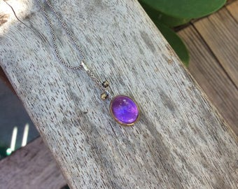 Sterling Silver Necklace Amethyst Gemstone Necklace Amethyst Pendant