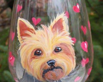 CUSTOM Yorkshire Terrier Wine Glass ~ Handpainted Yorkie ~ From YOUR PHOTOS ~Dog Wine Glass