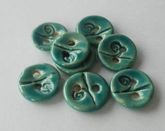 Turquoise Blue Ceramic Buttons